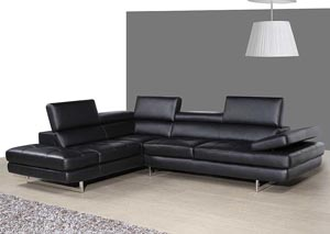 Slate Grey Italian Leather Left Facing Sectional