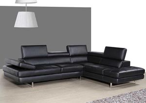 Slate Grey Italian Leather Right Facing Sectional