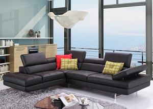 Slate Black Italian Leather Left Facing Sectional