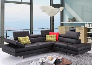 Slate Black Italian Leather Right Facing Sectional