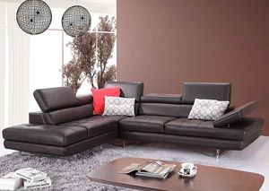 Slate Coffee Italian Leather Left Facing Sectional
