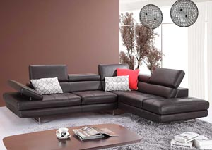Slate Coffee Italian Leather Right Facing Sectional