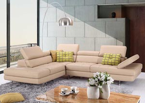 Peanut Italian Leather Left Facing Sectional