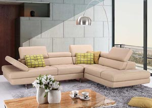 Slate Peanut Italian Leather Right Facing Sectional