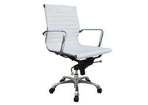 White Comfy Low Back Office Chair