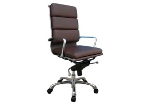 Brown Plush High Back Office Chair