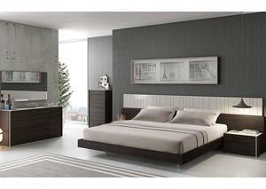 Porto King Bed, Dresser, Mirror, Chest, Left Facing Nightstand & Right Facing Nightstand