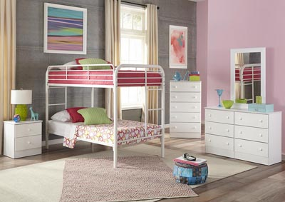 Metal White Twin/Twin Metal Bunkbed