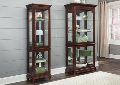 Cherry Curio w/3 Tempered Glass Shelves
