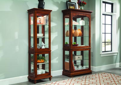 Oak Curio w/3 Tempered Glass Shelves
