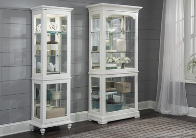 White Curio w/3 Tempered Glass Shelves