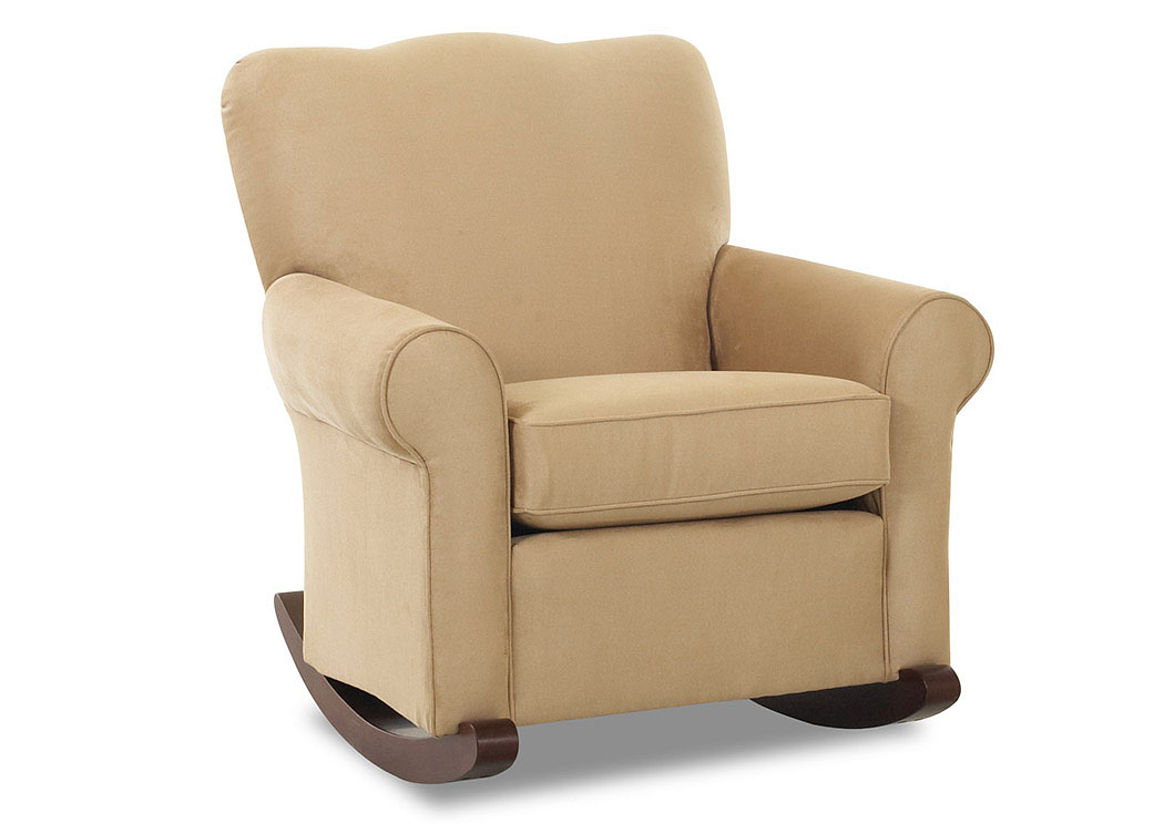 Old Town Microsuede Camel Rocking Leather Chair,Klaussner Home Furnishings