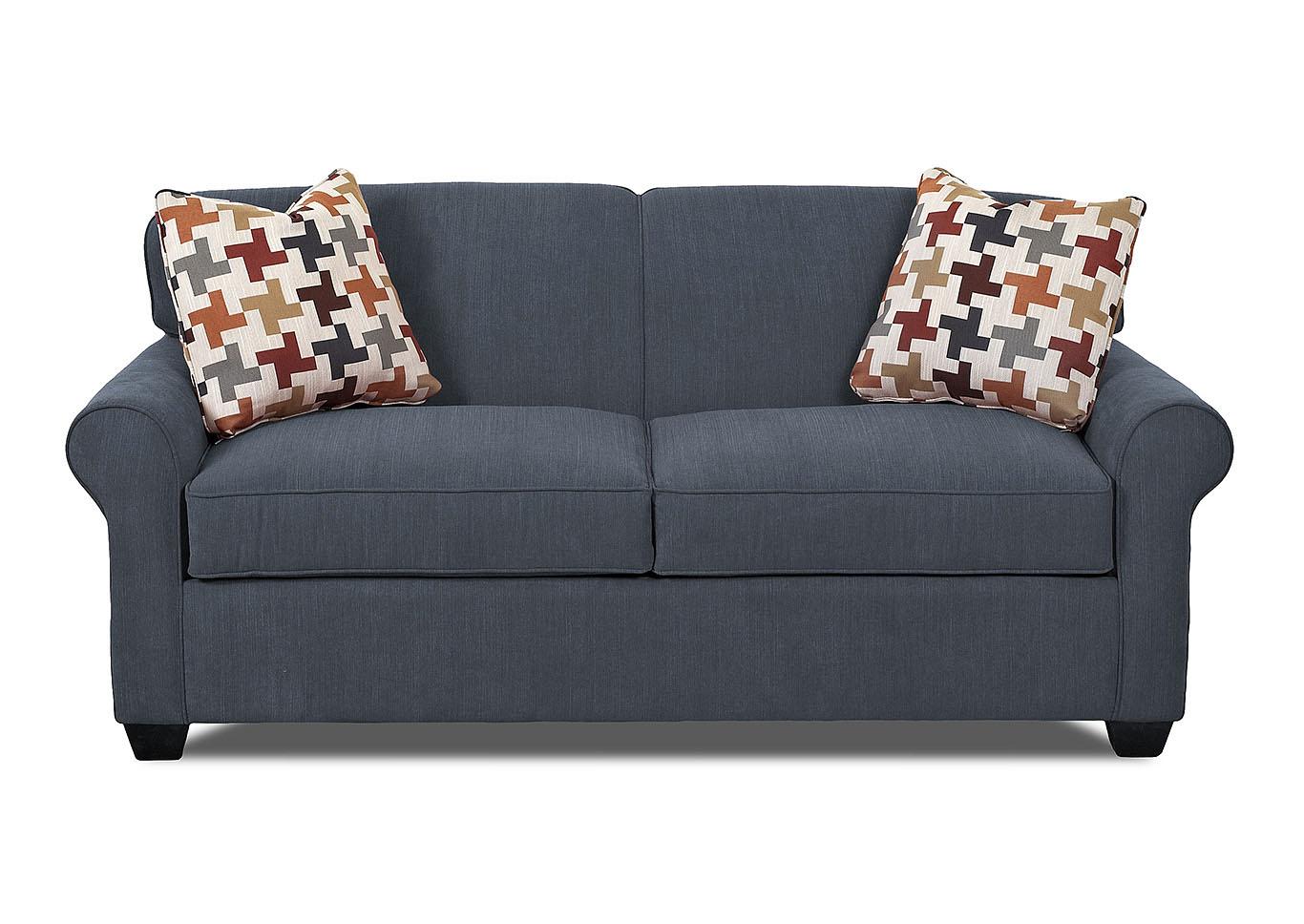 Mayhew Navy Blue Sleeper Fabric Sofa,Klaussner Home Furnishings