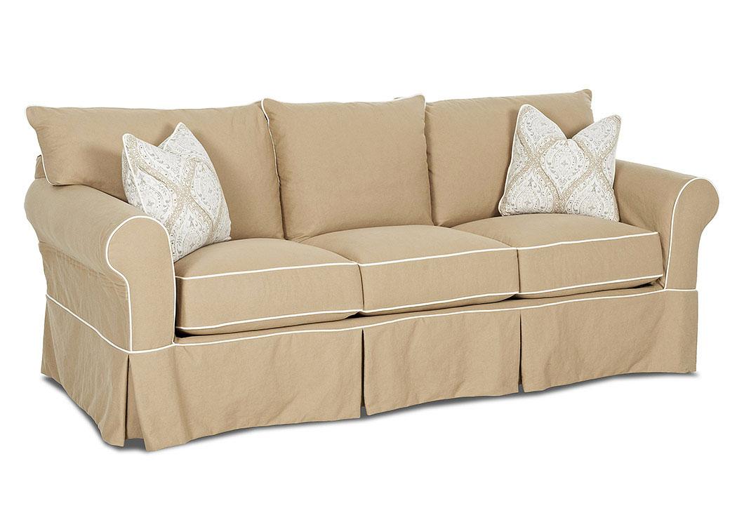 Jenny Classic Khaki Stationary Fabric Sofa,Klaussner Home Furnishings