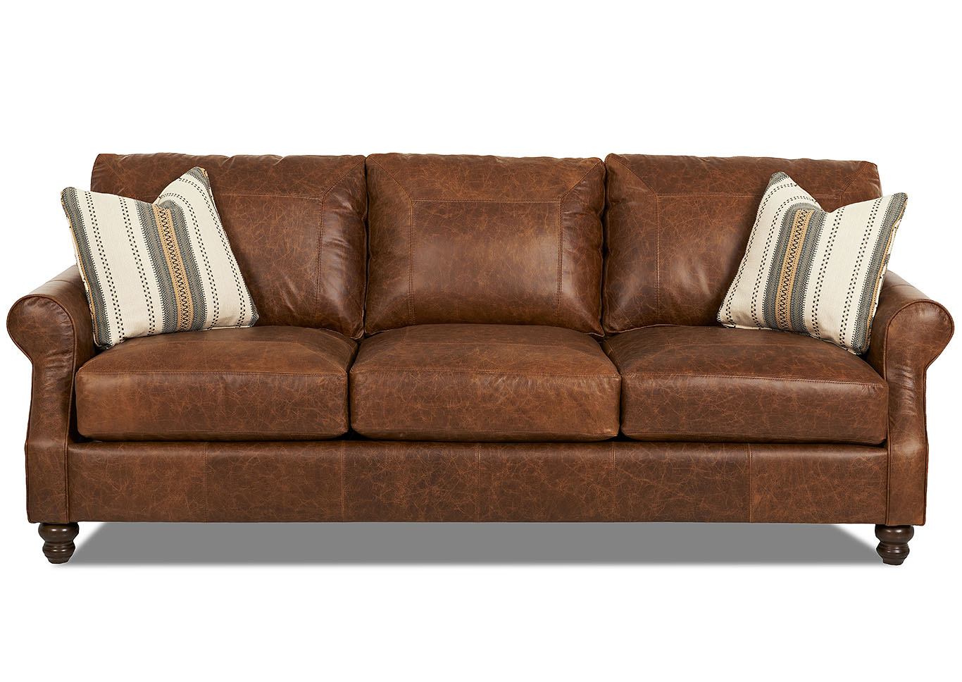 Hornell Furniture Outlet Tifton Brown Stationary Leather Sofa