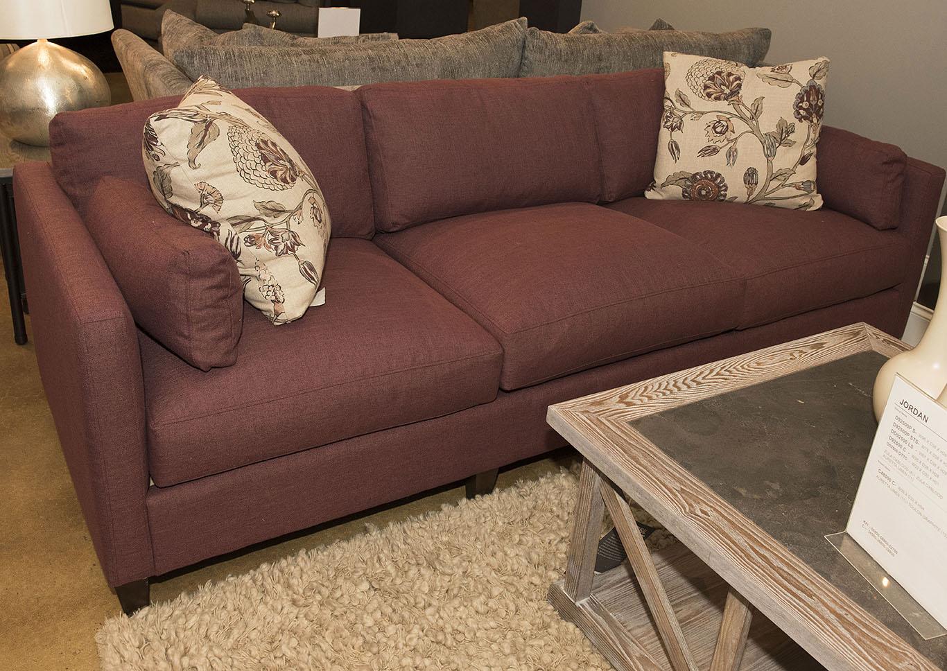 Jordan Zula Oxblood Stationary Fabric Sofa,Klaussner Home Furnishings