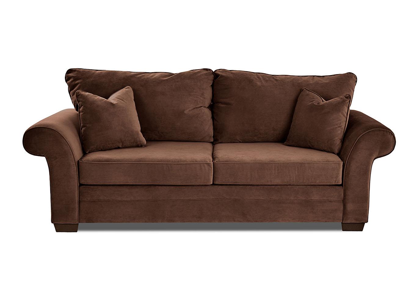 Holly Dark Brown Stationary Fabric Sofa,Klaussner Home Furnishings
