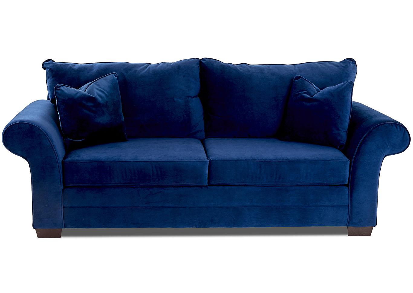 Holly Indigo Blue Stationary Fabric Sofa,Klaussner Home Furnishings
