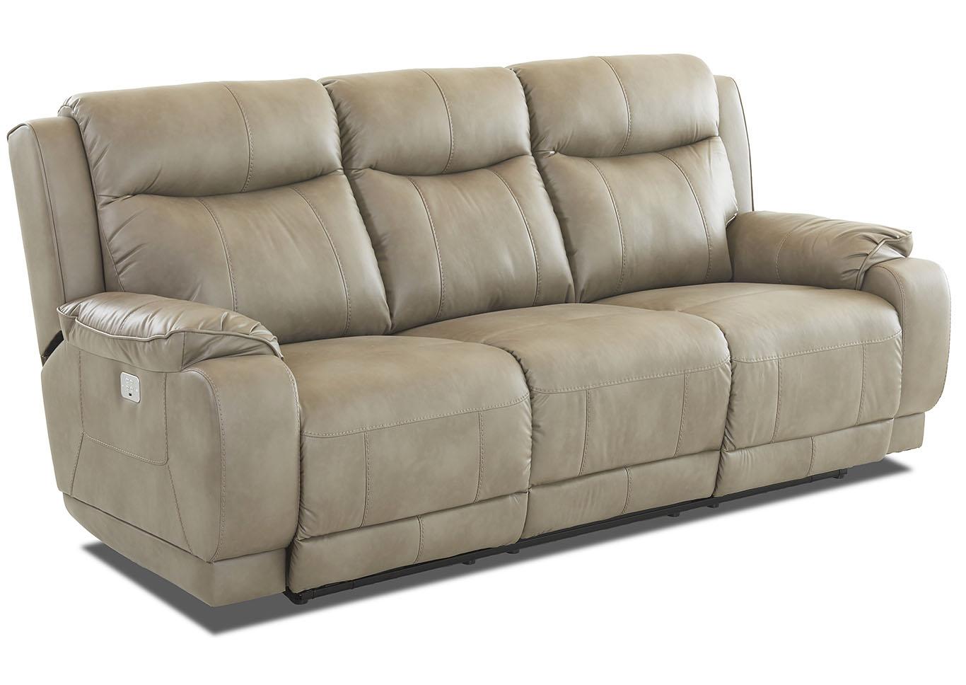 Signature Furniture - NJ Humphrey Putty Reclining Leather Sofa
