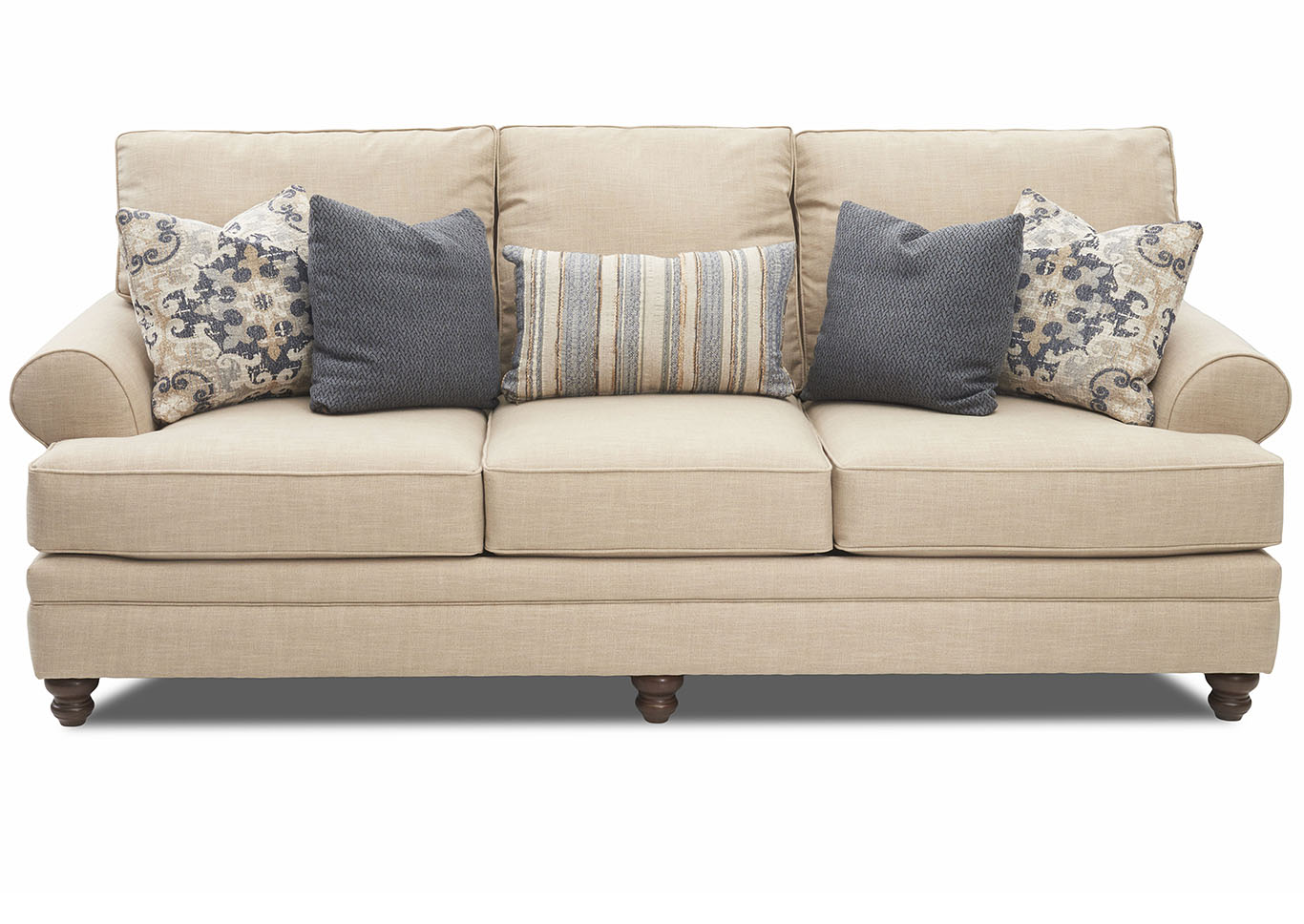 Darcy Beige Stationary Fabric Sofa,Klaussner Home Furnishings
