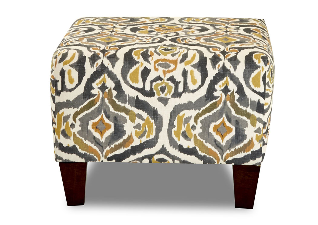 Tanner Margot Goldenrod Stationary Fabric Ottoman,Klaussner Home Furnishings
