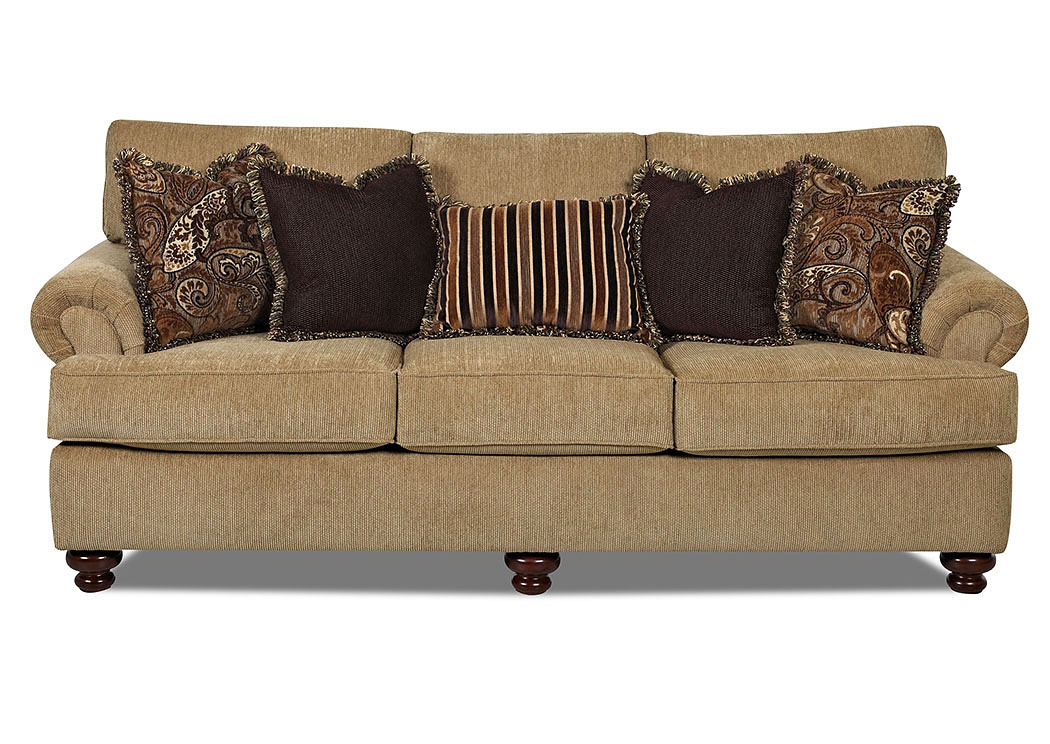 Greenvale Artiga Burlap Fabric Stationary Sofa,Klaussner Home Furnishings