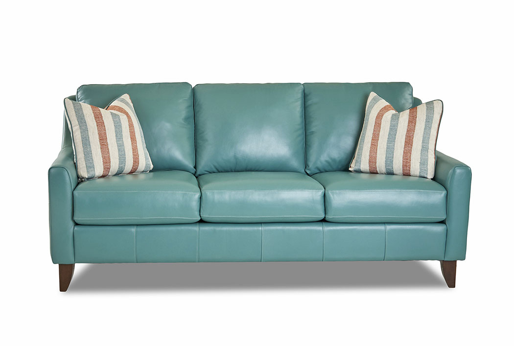Charmant Belton Sofia Malachite Leather Stationary Sofa,Klaussner Home Furnishings