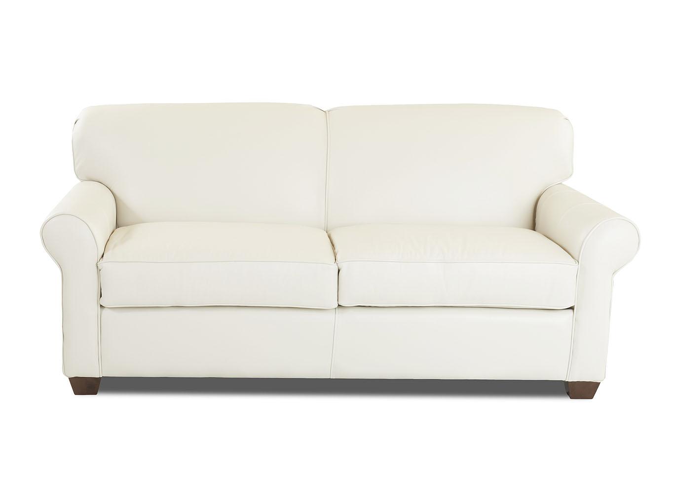 Mayhew White Leather Sleeper Sofa,Klaussner Home Furnishings