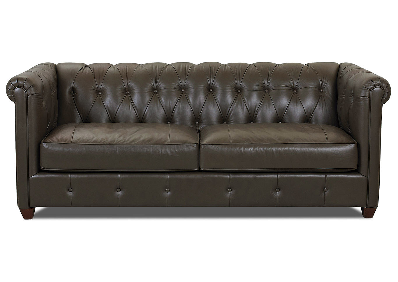 Beech Mountain Hesterfield Olive Leather Stationary Sofa,Klaussner Home  Furnishings