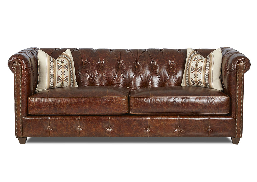 Beech Mountain El Dorado Whiskey Leather Stationary Sofa,Klaussner Home  Furnishings