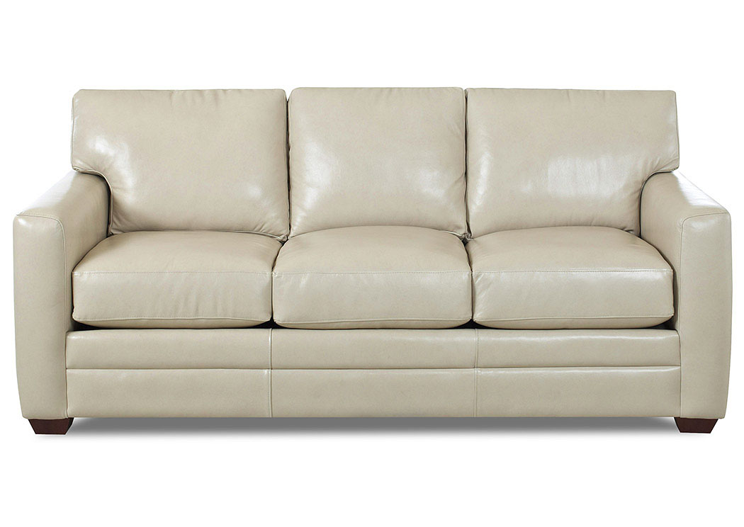 Compass Furniture Fedora Off White Leather Stationary Sofa