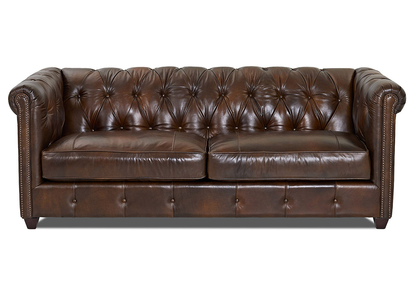 Attrayant Beech Mountain Chesterfield Whiskey Leather Stationary Sofa,Klaussner Home  Furnishings