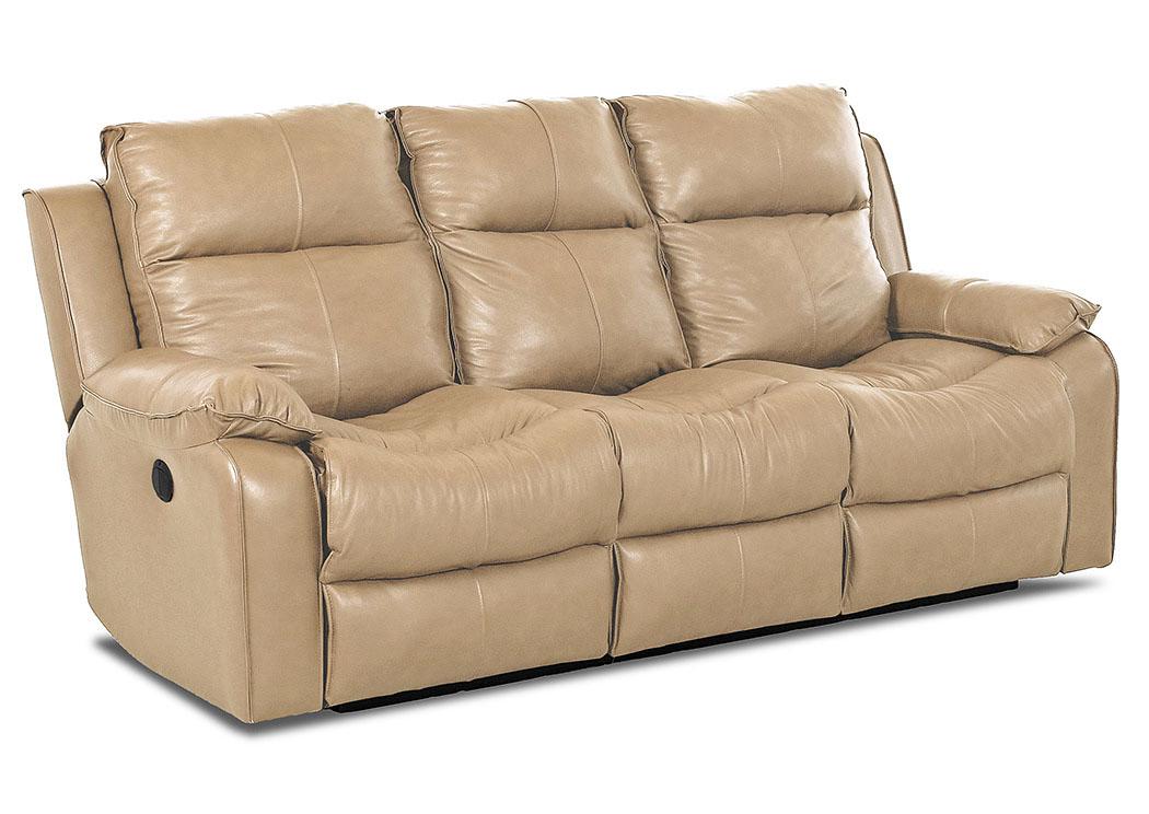 Castaway Durango Almond Power Reclining Leather U0026 Vinyl Sofa,Klaussner Home  Furnishings