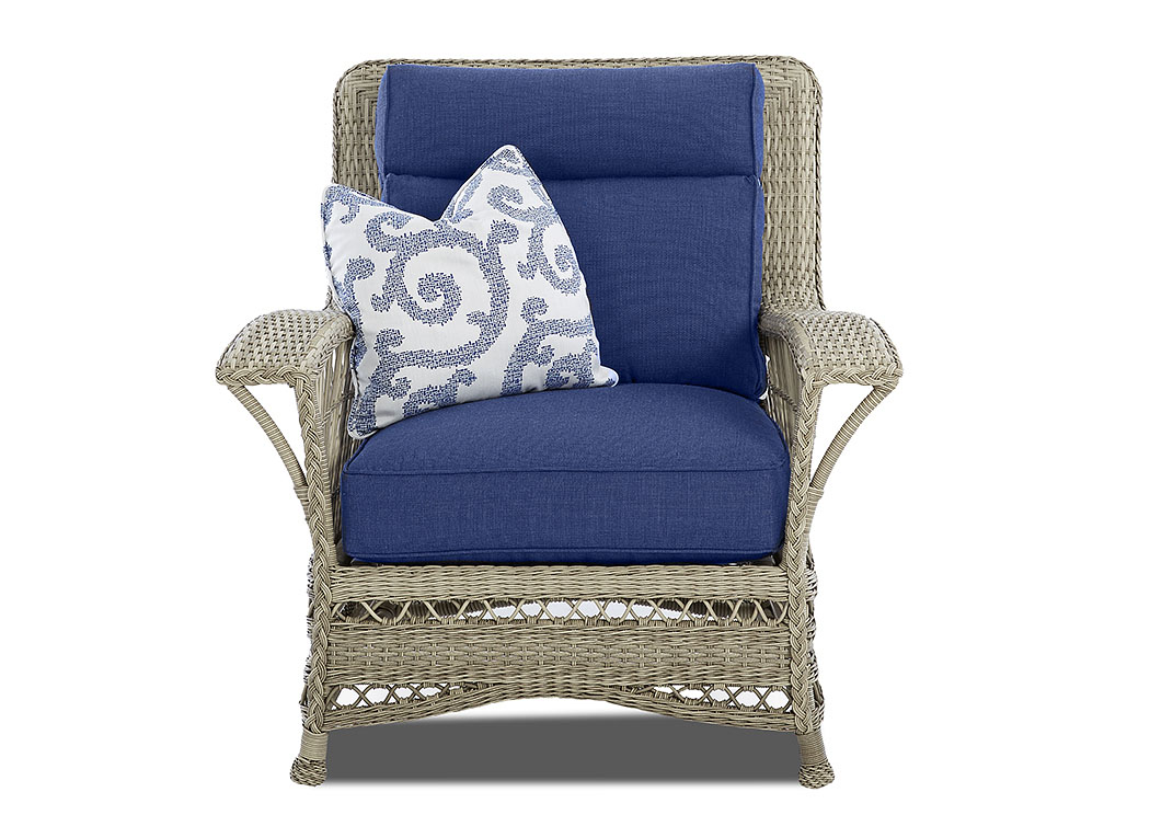 Willow Blue Fabric Wicker Chair,Klaussner Home Furnishings
