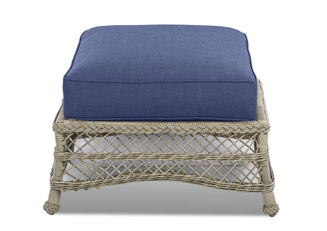 Willow Blue Fabric Wicker Ottoman,Klaussner Home Furnishings