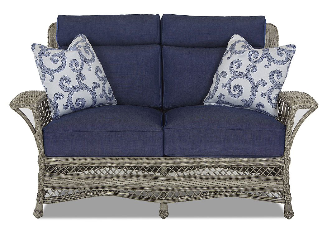 Willow Blue Fabric Wicker Loveseat,Klaussner Home Furnishings