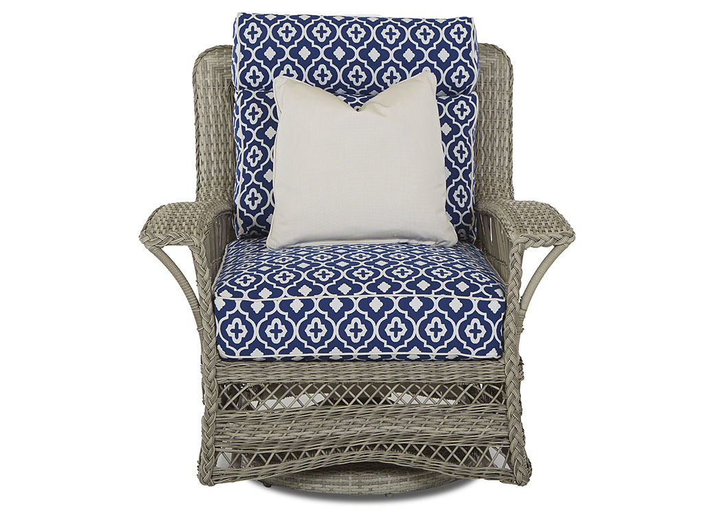Willow Quatrefoil Royalty Fabric Swivel Wicker Chair,Klaussner Home  Furnishings