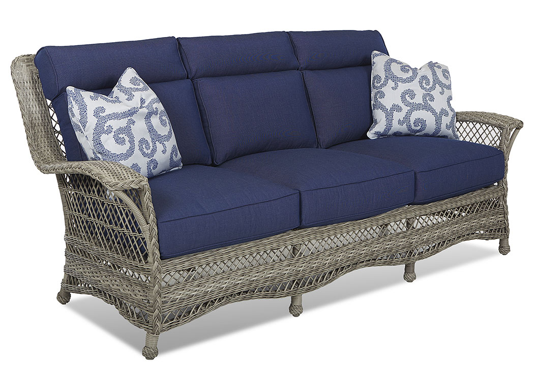 Willow Blue Fabric Wicker Sofa,Klaussner Home Furnishings