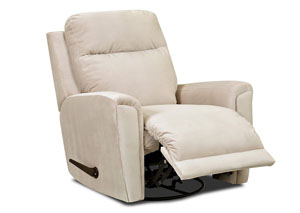 Priest White Fabric Reclining Swivel Chair