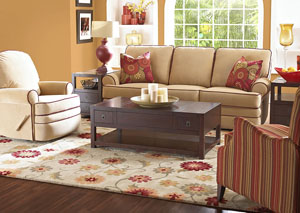 Belleview Belshire Honey Reclining Fabric Sofa