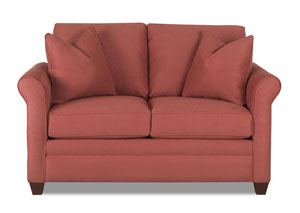 Dopler Microsuede Persimmon Stationary Fabric Loveseat