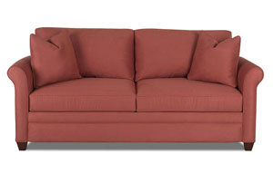 Dopler Microsuede Persimmon Stationary Fabric Sofa