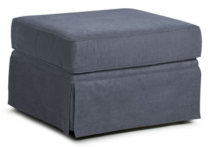 Woodwin Landers Gunmetal Stationary Fabric Ottoman