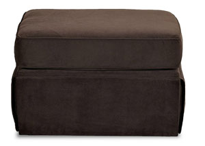 Woodwin Nina Chocolate Stationary Fabric Ottoman