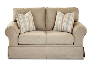 Woodwin Tibby Linen Beige Stationary Fabric Loveseat