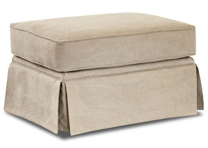 Woodwin Tibby Linen Beige Stationary Fabric Ottoman
