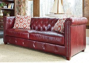 Beech Mountain Cranberry Stationary Leather Sofa