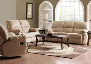Best Buy Furniture and Mattress Fairweather Beige Reclining Sofa and Reclining Loveseat