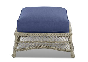 Willow Blue Fabric Wicker Ottoman