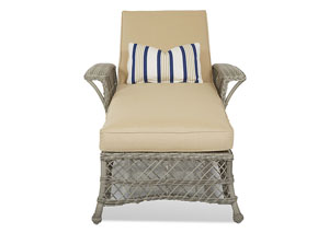 Willow Beige Fabric Wicker Chaise